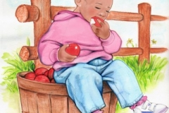 """Little Girl with Bushel of Apples"""